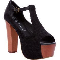 JEFFREY CAMPBELL T-bar platform sandal ($81) ❤ liked on Polyvore