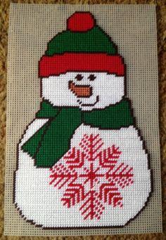 Christmas Snowflake Snowman Plastic Canvas by JeepysJubilee
