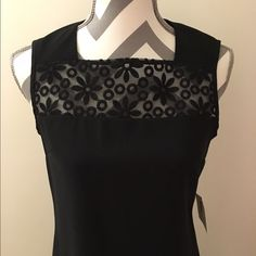 Anne Klein Black Dress Gorgeous dress!! Zips up back. Beautiful soft lace around neckline and is sheer. Dry clean only!! 86% polyester 14% elastane. Bust 16 in across. Length 37 in. Waist 16 in. Hips 17 in. Anne Klein Dresses