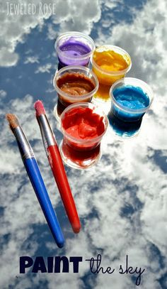 Paint the Sky - lay a mirror outside facing upwards.  Give kids sky colored paints (  sky blue, sun yellow, sunset orange, cloud white) and let them paint the sky.  ..An amazing art activity, and a super fun way to explore the sky