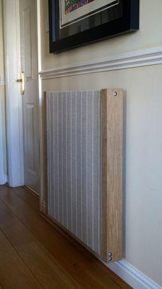 Dual Stripe fabric radiator cover, with oak