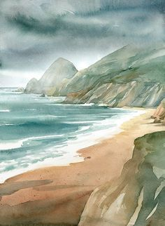 Watercolor more watercolor ocean, watercolor scenery, watercolor pictures, Watercolor Scenery, Watercolor Ocean, Watercolor Landscape Paintings, Watercolor Pictures, Watercolor Portraits, Watercolour Painting, Landscape Art, Watercolors, Watercolor Artists