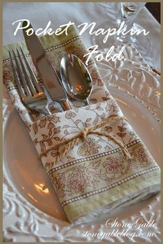 POCKET NAPKIN FOLD TUTORIAL This is a fun easy way to fold a napkin and include the flatware too. Making a POCKET NAPKIN takes less than a minute and adds a lot of interest to a tablescape! Here's how… Making A Pocket Napkin Fold: Spread the napkin right Beautiful Table Settings, Party Entertainment, Deco Table, Decoration Table, Tablescapes, Tea Party, Creations, Tableware, Fun