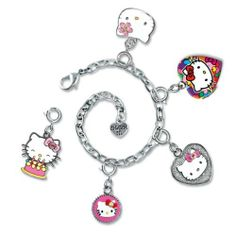 """CHARM IT! Sanrio Hello Kitty 5 Charm Happy Birthday & Silver Chain Link Bracelet Set in Jewelry Gift Box CHARM IT! Gift Sets. Save 22 Off!. $42.99. ©Sanrio and produced by CHARM IT!   Designed especially for girls age 4-14. Featuring: Hello Kitty Birthday cake, hot pink Hello Kitty locket, Glam Kitty, Hello Kitty Silver Screen Heart, and Hello Kitty cupcake. Comes in a rainbow jewelry box with magnetic latch and grosgrain ribbon handle. Charms are approximately 1""""L.  Base metal, ena..."""