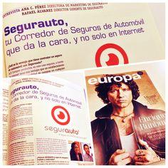 """Buenos días Segurnautas! En noviembre volamos por España con AIR EUROPA en su revista """"Europa"""" hablando sobre nuestra forma de vender Seguros de coches. El lunes os contaremos más en nuestro Blog ;) Feliz fin de semana"""