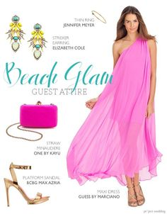 Tropical beachy glam wedding guest outfit (composite by Sarah Zlotnick)