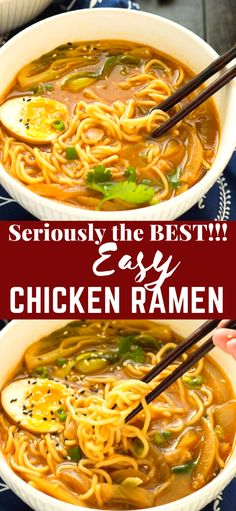 This Easy Chicken Ramen can be made at home in about 30 minutes! A flavorful broth with chicken and noodles, and don't forget the ramen egg! for dinner EASY CHICKEN RAMEN Soup Recipes, Chicken Recipes, Dinner Recipes, Cooking Recipes, Healthy Recipes, Chicken Ramen Bowl Recipe, Easy Noodle Recipes, Recipies, Tilapia Recipes