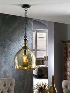 Lámpara de Cristal Soplado : Modelo LAIA ámbar