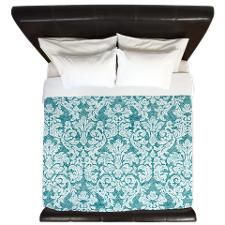 lace pattern - teal blue King Duvet