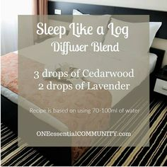 sleep like a log diffuser blend with cedarwood and lavender essential oils-- This blend is super relaxing and perfect for helping you to fall asleep and stay asleep!