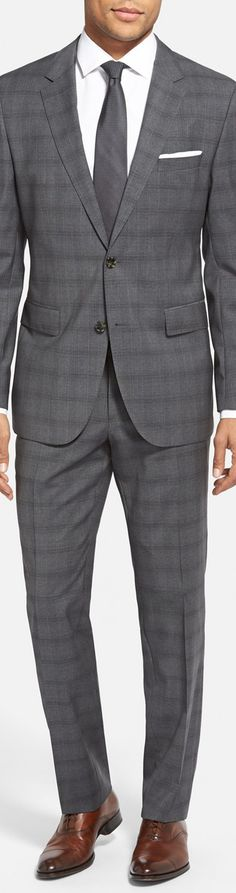 BOSS+'James/Sharp'+Trim+Fit+Plaid+Wool+Suit+(Online+Only)+available+at+ Love the Boss suits, and love the pattern. Dapper Gentleman, Gentleman Style, Fashion Moda, Mens Fashion, Fashion Menswear, Mens Italian Suits, Boss Suits, Dapper Suits, Modern Suits