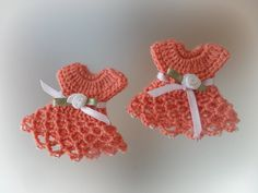 Lot of 6 Crochet Miniature Dresses for Christening Baptism Favors For Girl, Baby Shower, Decoration by Vintagespecialmoment on Etsy