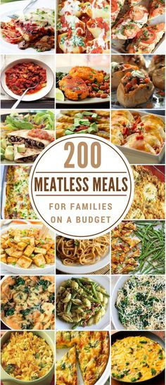200 Meatless Meals for Families on a Budget These meatless recipes are healthy, cheap and flavorful. As you probably already know, meat is the most expensive part of the grocery bill so going meatless is an easy way to reduce food costs. Tasty Vegetarian, Vegetarian Dinners, Vegetarian Meal Planning, Vegetarian Protein Meals, Balanced Vegetarian Diet, Vegetarian Italian, Vegetarian Main Dishes, Vegan Lunches, Paleo Food