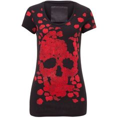 """t-shirt """"bad romance"""" ($400) ❤ liked on Polyvore featuring tops, t-shirts, skull tee, red tee, skull top, red t shirt and print tee"""