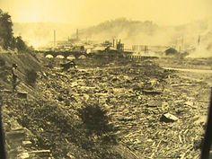 1889 Johnstown flood looking west to stone bridge.