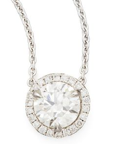 18k White Gold Diamond Solitaire Pendant Necklace with Pave Halo.