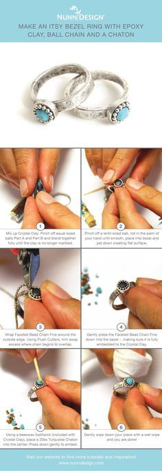 I love this step-by-step tutorial by It shows how to create their Itsy Bezel Ring using faceted bead chain, turquoise Swarovski crystal chatons and Crystal Clay! Resin Jewelry, Jewelry Crafts, Handmade Jewelry, Earrings Handmade, Gemstone Jewelry, Diamond Jewelry, Silver Jewelry, Wire Wrapping Tutorial, Resin Tutorial
