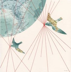 An invisible thread connects those destined to meet regardless of time place or circumstance. Life's threads may wear, tangle and fray but will not break. Map Collage, Mixed Media Collage, Mysterious Universe, Bird Artwork, Travel Gifts, Cartography, Bunt, Art Projects, Illustration Art