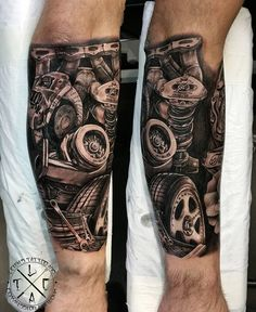 ▷ 1001 + ideas for tattoos + info about everything you need to know about it - best tattoos for men, forearm tattoo, tattoo with machine parts - Hand Tattoos, Best Sleeve Tattoos, Body Art Tattoos, Motor Tattoo, Tatuagem Hot Rod, Engine Tattoo, Piston Tattoo, Hot Rod Tattoo, Tattoo Trend