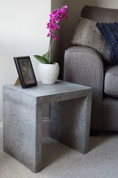 A handmade, concrete side table. Each table has its own unique surface detail. We believe in the rough beauty of concrete and are not interested in working against its natural materiality. Therefore our products celebrate the natural Concrete Table, Concrete Furniture, Concrete Design, Home Furniture, Concrete Cement, Polished Concrete, Urban Furniture, Concrete Crafts, Deco Design
