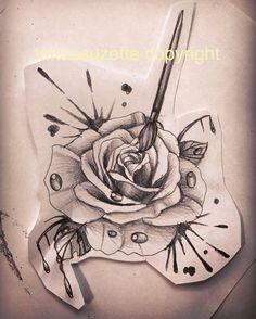 rose aquarelle tattoo design