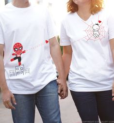 Looking for that perfect gift for your superhero? How about matching his and her couple shirts? Couple Tees, Matching Couple Shirts, Matching Couples, Couple Gifts, Perfect Couple, Love Couple, Perfect Woman, Im Your Lady, You Are My Superhero