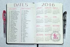 Thirsting for more bullet journal ideas? Here's the second installment of Ultimate List of Bullet Journal Ideas! Get your bullet journals ready! Bullet Journal Yearly Spread, Planner Bullet Journal, Bullet Journal Junkies, Bullet Journal Inspo, Bullet Journal Layout, Bullet Journals, Bullet Journal Year At A Glance, Bullet Journal Birthday Tracker, Valentines For Mom