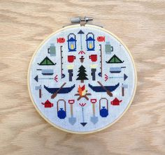 Camping Modern cross stitch pattern PDF Instant by thestitchmill
