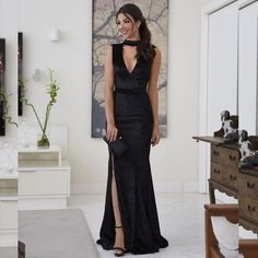 Sexy V-Neck A-line Prom Dresses With Slit Tailoring Dress A Line Prom Dresses, Evening Dresses, Bridesmaid Dresses, Formal Dresses, Mermaid Skirt, Slit Dress, Dress For You, Ideias Fashion, Party Dress