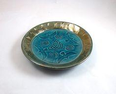 RAVENS Spiral TRIQUETRA Bowl RAKU Handmade Pottery Ceramic by DeBaunFineCeramics on Etsy