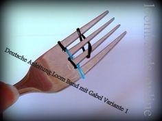 ▶ Wie macht man Armbänder - Loom Bands mit einer Gabel? Gummibänder Gabel (deutsche Anleitung) - YouTube