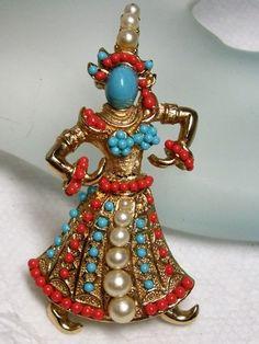 BOUCHER Turquoise & Coral Mini Cab ASIAN ~GEISHA Siam Thai Dancer Brooch