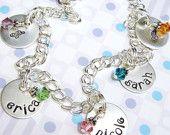 Hand stamped Mommy charm bracelet $73