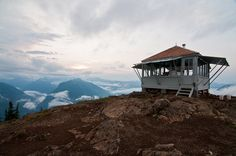 The fire lookout on Desolation Peak.    North Cascade Mountains of Washington state.
