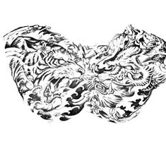 Full Chest Tattoos, Half Sleeve Tattoos For Guys, Chest Piece Tattoos, Dragon Sleeve Tattoos, Japanese Tiger Tattoo, Japanese Tattoo Designs, Japanese Sleeve Tattoos, Chest Tattoo Sketches, Traditional Tattoo Sketches