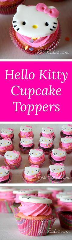 Hello Kitty Cupcake Toppers | RoseBakes.com
