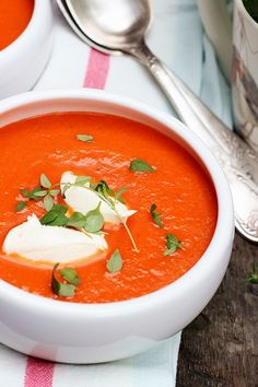 Zupa krem z pieczonej papryki Thai Red Curry, Food And Drink, Diet, Cooking, Ethnic Recipes, Fit Meals, Mascarpone, Kitchen, Banting