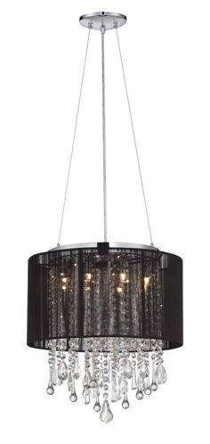 Chandeliers/Mini Chandeliers By Avenue Lighting BEVERLY DR. ROUND BLACK SILK STRING SHADE AND CRYSTAL DUAL MOUNT Drum Shade in Black HF1501BLK