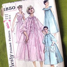 1950s Vintage Sewing Pattern  Robe  House Coat  by SelvedgeShop