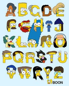 """Brilliant use of characters as an alphabet from the cast the Simpsons. Scratchy """"S"""" looks pretty great! Brilliant use of characters as an alphabet fro. Graffiti Alphabet, Alphabet Print, Alphabet Fonts, Adventure Fonts, Simpsons Drawings, Sing Along Songs, Dont Touch My Phone Wallpapers, Tattoo Lettering Fonts, Drawing Letters"""
