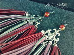 Bosho Chic Impressive Earrings Marsala with Gemstone Stone Bead