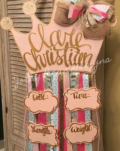 Baby girl hospital door hanger, Joley Bean Designs
