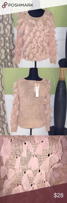 FLASH SALE Bow Sweater Bow Sweater.  Color is Peach. Size is One Size Fits All. The Top runs small and seems to fit up to a Size Medium. Sweaters