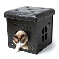 Pet Life Foldaway Collapsible Cat House Furniture Bench - Tanga