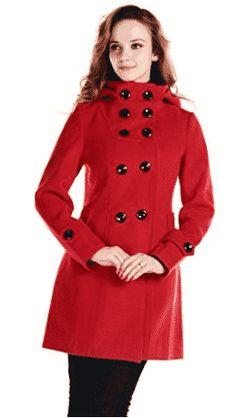 Women Wool Blends Coat Trench Hooded Coat Long Jacket Outwear Overcoat Red L Winter Coats Women, Coats For Women, Jackets For Women, Clothes For Women, Long Jackets, Women's Jackets, Moncler, Wool Blend, Wool Coats