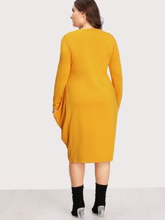 Plus Dual Pocket Cocoon Dress Plus Size Dresses, Cute Dresses, Dresses With Sleeves, Casual Office Attire, Cocoon Dress, Winter Dresses, Sleeve Styles, Party Dress, High Neck Dress