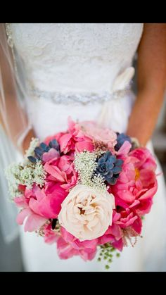 Beautiful pink and navy bouquet