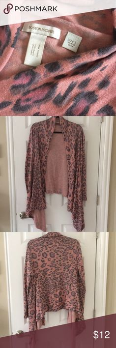 """Boston Proper Pink & Gray Leopard Wrap Cardi Soft dusty rose & gray leopard sweater from Boston Proper. In great condition- no rips, tears or stains.  There's a lot of fabric in front to wrap or tie or just leave open. Looks super cute with leggings or jeans.  17"""" pit to pit, 26"""" back length  Long sleeve  74% rayon/ 26% nylon  Some small pilling under arms and bottom of sleeves - see photo. Boston Proper Sweaters Cardigans"""