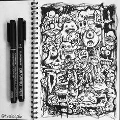 my first monster-doodle art, not too bad :D drawing pen on sketchbook