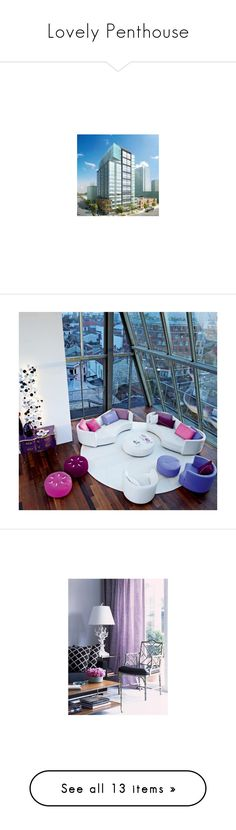 """""""Lovely Penthouse"""" by mariamoore-1 ❤ liked on Polyvore featuring house, rooms, home, interior, casas, backgrounds, decor, pictures, purple and bedrooms"""